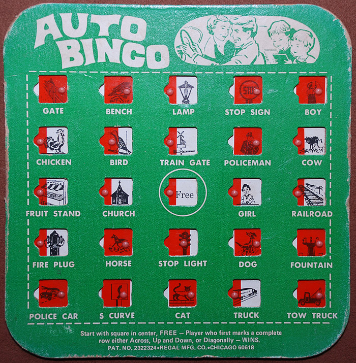 It's just a graphic of Crafty Car Bingo Game