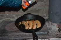 German sausage on the cookstove