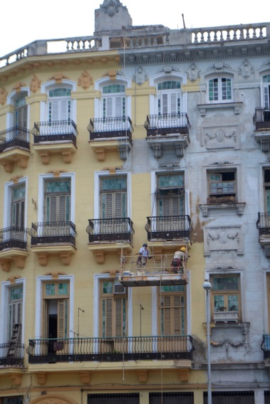 Renovations in progress in downtown Havana