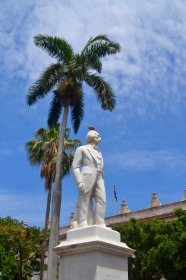 "A statue of Marti in ""Book Square"" in Old Havana"