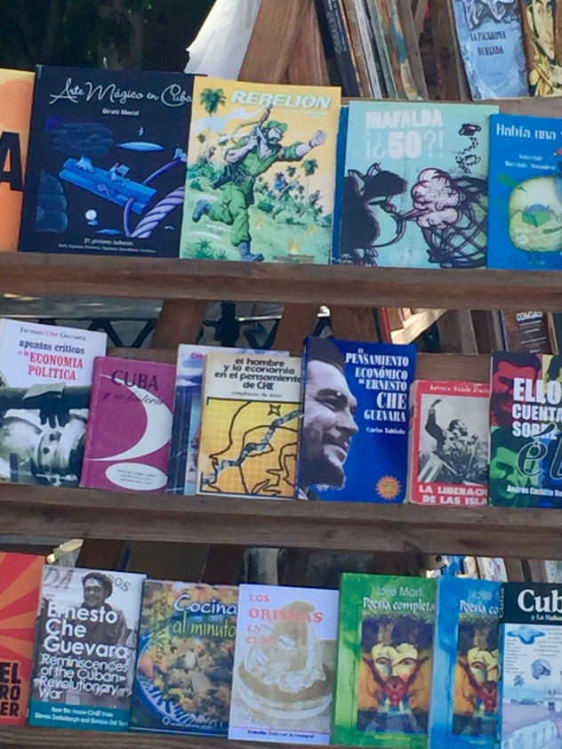 "Lots of interesting books available at ""Book Square"" in Old Havana"