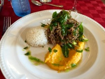 Rice with shredded beef and pureed pumpkin