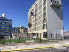 The US embassy, a few miles away