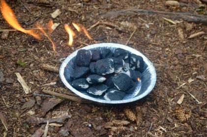 prepping the coals