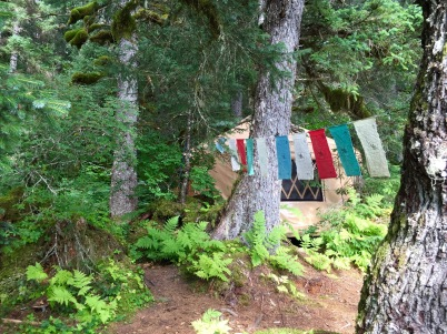 Prayer flags and the yurt
