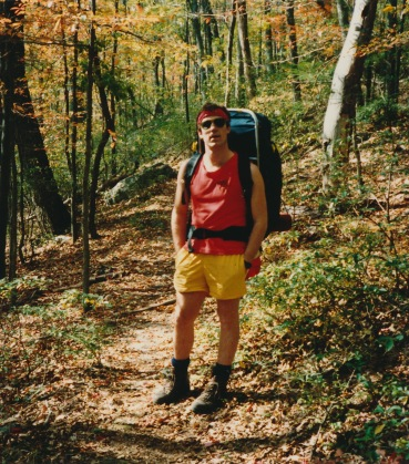 A little (ok, a lot) thinner in 1987, carrying my North Face BackMagic pack, state of the art for the time