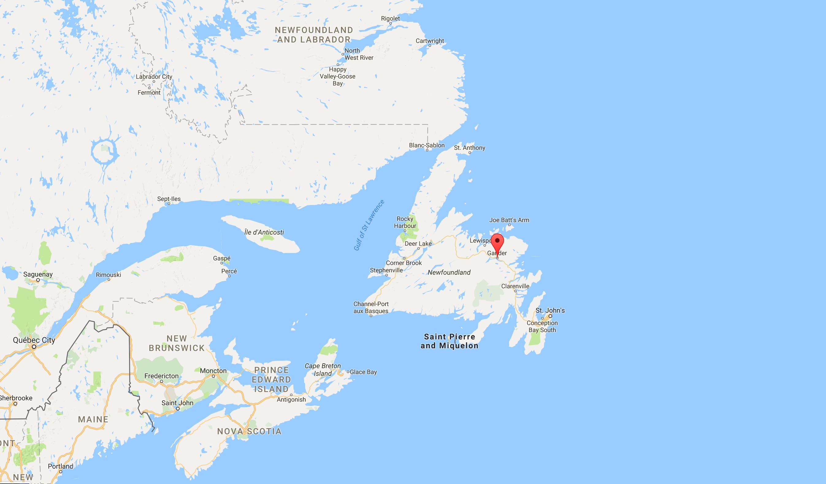 Gander Canada Map.Gander Map Souzzchef