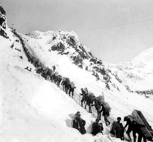 The Chilkoot Pass trail at the height of the gold rush