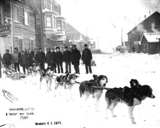 A dog team in Dawson in 1899