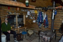 Drying out inside the Tatonduk River Cabin