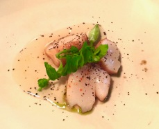 Scallop, wild garlic, pepper dulse