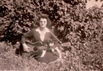 Larry Lamb's Aunt, Sevilla Lamb, playing guitar. Photo courtesy of Larry Lamb