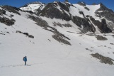 Headed down the snowfield