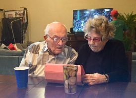 Johnny and Margie and her iPad, awaiting Irma