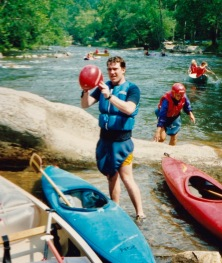 A rare shot of me with a kayak, from about 1988