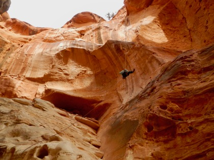 Souzz hanging below Cassidy Arch, Capitol Reef NP
