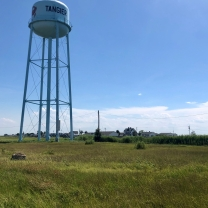 The water tower, Tangier's most visible landmark