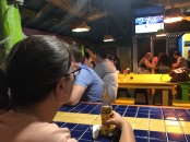The main bar in Placencia, watching the hometown Nationals in the World Series (in Spanish)